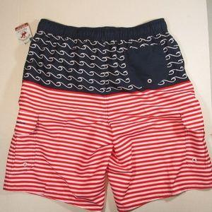 77b194f70ec Beverly Hills Polo Club Swim - NEW Mens swim trunks red white blue size L  USA